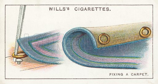 Fixing a Carpet. Illustration for one of a series of cigarette cards on the subject of Household Hints published by Wills