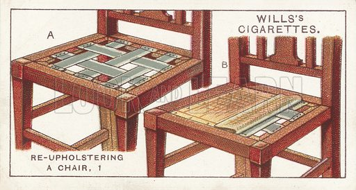 Re-upholstering a Chair, 1. Illustration for one of a series of cigarette cards on the subject of Household Hints published by Wills's Cigarettes, early 20th century.