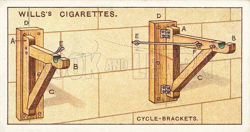 Cycle-brackets. Illustration for one of a series of cigarette cards on the subject of Household Hints published by Wills's Cigarettes, early 20th century.