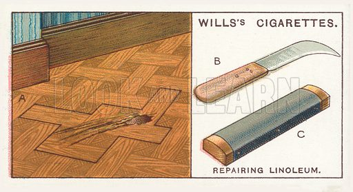 Repairing Linoleum. Illustration for one of a series of cigarette cards on the subject of Household Hints published by Wills's Cigarettes, early 20th century.