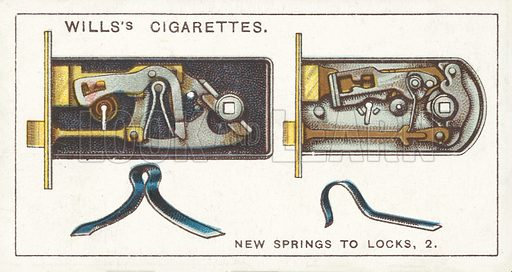 New Springs to Locks, 2. Illustration for one of a series of cigarette cards on the subject of Household Hints published by Wills's Cigarettes, early 20th century.