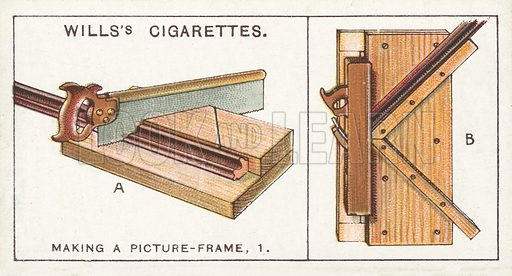 Making a Picture-frame, 1. Illustration for one of a series of cigarette cards on the subject of Household Hints published by Wills's Cigarettes, early 20th century.