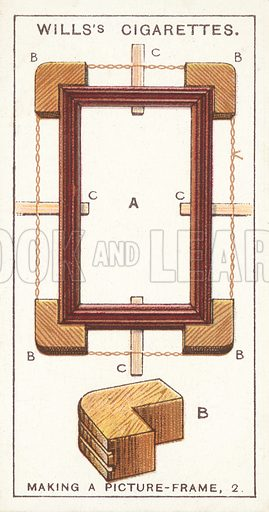 Making a Picture-frame, 2. Illustration for one of a series of cigarette cards on the subject of Household Hints published by Wills's Cigarettes, early 20th century.