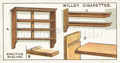 Erecting Shelves. Illustration for one of a series of cigarette cards on the subject of Household Hints published by Wills's Cigarettes, early 20th century.