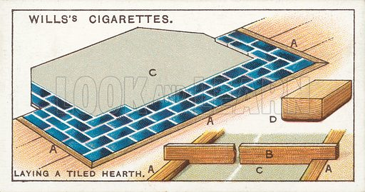 Laying a Tiled Hearth. Illustration for one of a series of cigarette cards on the subject of Household Hints published by Wills's Cigarettes, early 20th century.
