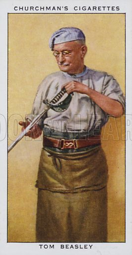 Tom Beasley, Swordsmith. Illustration for one of a set of cigarette cards on the subject of In Town Tonight, published by Churchman, early 20th century.