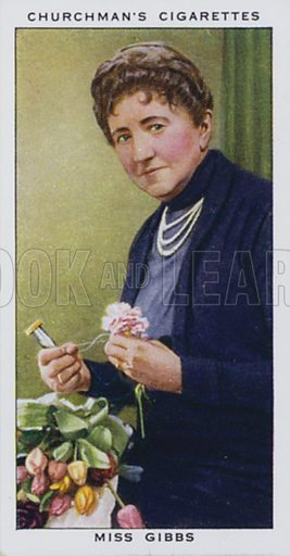 Miss Gibbs, Floral Buttonhole Maker. Illustration for one of a set of cigarette cards on the subject of In Town Tonight, published by Churchman, early 20th century.
