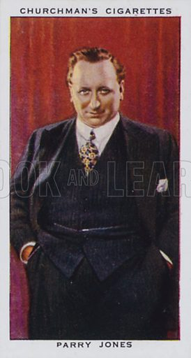 Parry Jones, Tenor. Illustration for one of a set of cigarette cards on the subject of In Town Tonight, published by Churchman, early 20th century.