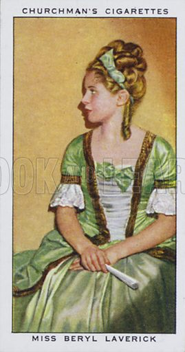 Miss Beryl Laverick, Actress and Dancer. Illustration for one of a set of cigarette cards on the subject of In Town Tonight, published by Churchman, early 20th century.