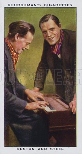 Ruston and Steel, Public House Entertainers. Illustration for one of a set of cigarette cards on the subject of In Town Tonight, published by Churchman, early 20th century.