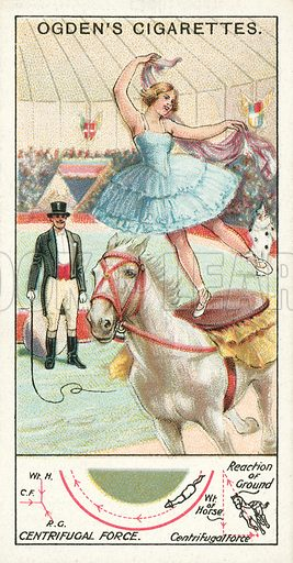 Centrifugal Force. Illustration for one of a series of cigarette cards on the subject of Marvels of Motion, published by Ogden's Cigarettes, early 20th century.