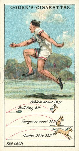 The Leap. Illustration for one of a series of cigarette cards on the subject of Marvels of Motion, published by Ogden's Cigarettes, early 20th century.