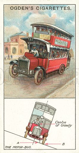 The Motor-Bus. Illustration for one of a series of cigarette cards on the subject of Marvels of Motion, published by Ogden's Cigarettes, early 20th century.