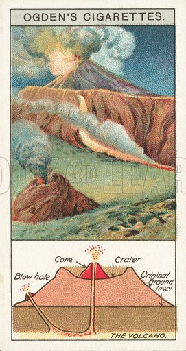 The Volcano. Illustration for one of a series of cigarette cards on the subject of Marvels of Motion, published by Ogden's Cigarettes, early 20th century.