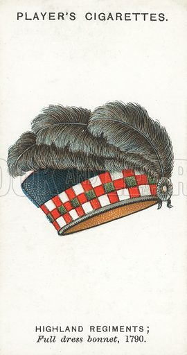 Highland Regiments, Full dress bonnet, 1790. Illustration for one of a series of cigarette cards on the subject of Military Head-Dress, published by John Player, early 20th century.