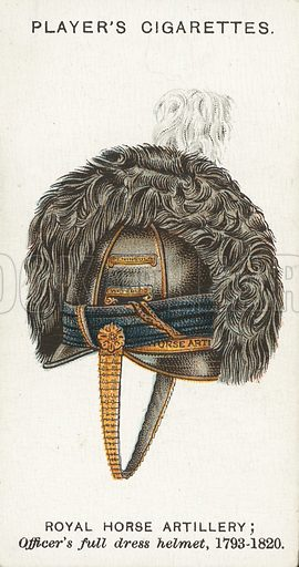 Royal Horse Artillery, Officer's full dress helmet, 1793-1820. Illustration for one of a series of cigarette cards on the subject of Military Head-Dress, published by John Player, early 20th century.