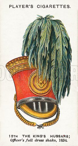15th King's Hussars, Officer's full dress shako, 1834. Illustration for one of a series of cigarette cards on the subject of Military Head-Dress, published by John Player, early 20th century.