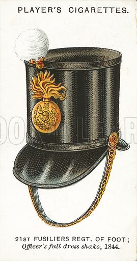 21st Fusiliers Regiment of Foot, Officer's full dress shako, 1844. Illustration for one of a series of cigarette cards on the subject of Military Head-Dress, published by John Player, early 20th century.