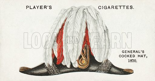 General's Cocked Hat, 1870. Illustration for one of a series of cigarette cards on the subject of Military Head-Dress, published by John Player, early 20th century.