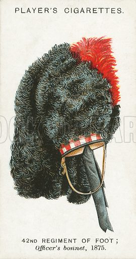42nd Regiment of Foot, Officer's bonnet, 1875. Illustration for one of a series of cigarette cards on the subject of Military Head-Dress, published by John Player, early 20th century.