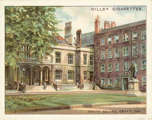 South Square, Gray's Inn. Illustration for one of a set of cigarette cards on the subject of Old London, published by Wills, early 20th century.