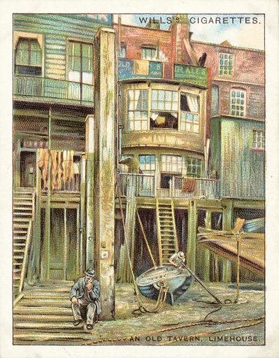 An Old Tavern, Limehouse. Illustration for one of a set of cigarette cards on the subject of Old London, published by Wills, early 20th century.