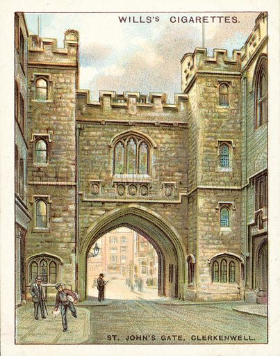 St John's Gate, Clerkenwell. Illustration for one of a set of cigarette cards on the subject of Old London, published by Wills, early 20th century.
