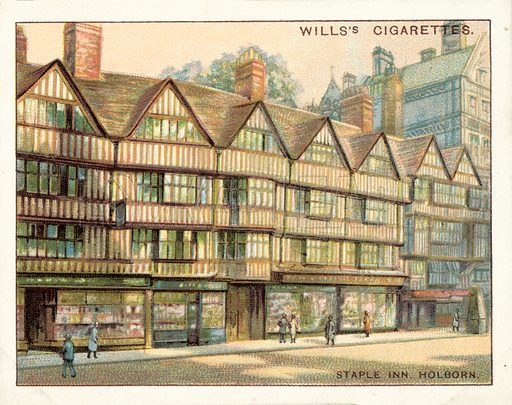 Staple Inn, Holborn. Illustration for one of a set of cigarette cards on the subject of Old London, published by Wills, early 20th century.