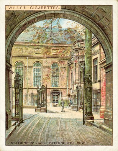 Stationers' Hall, Paternoster Row. Illustration for one of a set of cigarette cards on the subject of Old London, published by Wills, early 20th century.