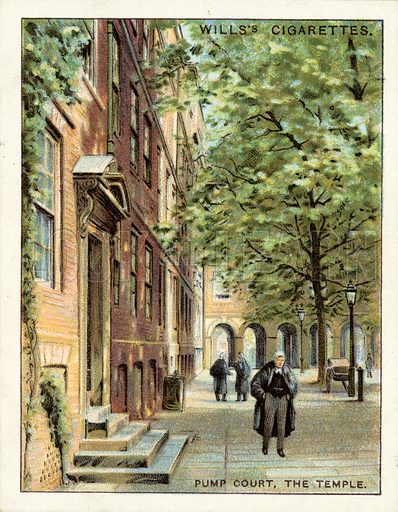 Pump Court, The Temple. Illustration for one of a set of cigarette cards on the subject of Old London, published by Wills, early 20th century.