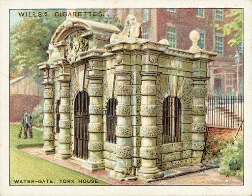 Water Gate, York House. Illustration for one of a set of cigarette cards on the subject of Old London, published by Wills, early 20th century.