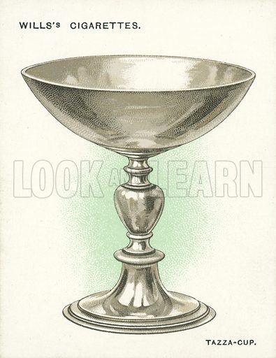 Tazza-Cup, 1578-9. Illustration for one of a set of cigarette cards on the subject of Old Silver, published by Wills, early 20th century.