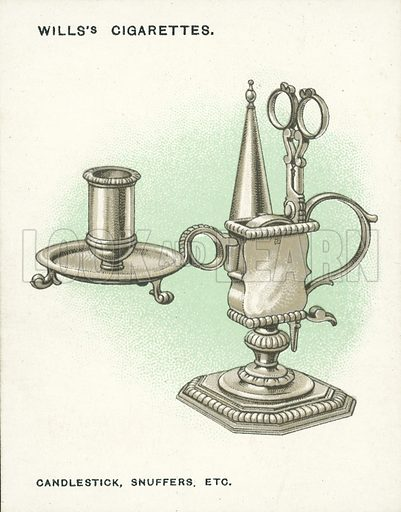 Candlestick, Snuffers, etc, about 1690. Illustration for one of a set of cigarette cards on the subject of Old Silver, published by Wills, early 20th century.