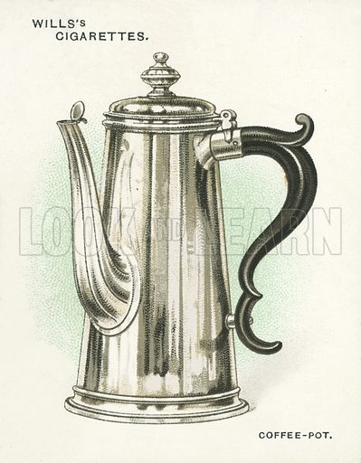 Coffee-Pot, 1717. Illustration for one of a set of cigarette cards on the subject of Old Silver, published by Wills, early 20th century.