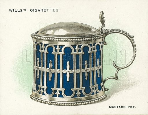 Mustard-Pot, with Glass Liner, 1771. Illustration for one of a set of cigarette cards on the subject of Old Silver, published by Wills, early 20th century.