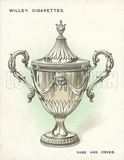 Vase and Cover, 1774-5. Illustration for one of a set of cigarette cards on the subject of Old Silver, published by Wills, early 20th century.