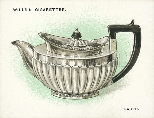 Tea-Pot, 1814. Illustration for one of a set of cigarette cards on the subject of Old Silver, published by Wills, early 20th century.