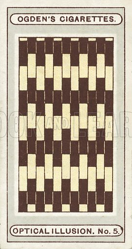 Light and Dark Bricks. In this striking illusion the brown and yellow bricks appear to be wedge-shaped, and the rows of bricks seem to converge to one another, but if a ruler is laid along any of the lines it will at once be seen that they are all quite straight and perfectly parallel. Illustration for one of a set of cigarette cards on the subject of Optical Illusions, published by Ogden's, early 20th century.