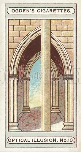 Cloisters. A very striking optical illusion is seen in this picture. It appears as though the two sides of the arch would not join up correctly, but this is simply due to the post coming in front and covering the lines. The two sides will join up perfectly on the left hand edge of the post. Illustration for one of a set of cigarette cards on the subject of Optical Illusions, published by Ogden's, early 20th century.