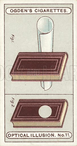 Book and Tube. Roll a piece of paper into a tube, and place a small book in the position shown in Fig 1, touching the tube of paper. Now look through the tube with the left eye, keeping both eyes open, the right eye looking at the book, and there will appear to be a hole through the book, as shown in Fig 2. Illustration for one of a set of cigarette cards on the subject of Optical Illusions, published by Ogden's, early 20th century.