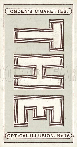 Letters Appearing Out of Upright, by Dr J Fraser. These letters, although they do not appear so, are perfectly upright and exactly parallel. This wonderful optical illusion is caused by the thick brown lines, which deceive the eye as to the true shapes of the letters. Illustration for one of a set of cigarette cards on the subject of Optical Illusions, published by Ogden's, early 20th century.