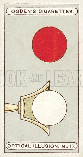 Ball and Cup. Hold the card lengthways, about nine inches from the face. Look intently at the white circle in the cup. Bring the card slowly nearer, and the red ball will apparently take the place of the white one. Illustration for one of a set of cigarette cards on the subject of Optical Illusions, published by Ogden's, early 20th century.