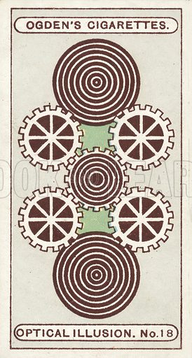 Cog Wheels with Rotary Movement. Give the card a quick rotary movement. The brown circles will appear to revolve in one direction, while the cogged wheels will revolve the opposite way. The quicker the rotary motion given to the ticket, the faster the wheels will appear to revolve. Illustration for one of a set of cigarette cards on the subject of Optical Illusions, published by Ogden's, early 20th century.