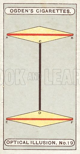 Length of Lines. In this diagram the lines AB, CD, and EF are all exactly the same length. The direction of the side lines of the yellow diamonds, however, have the effect of making AB and EF look much shorter than CD. Illustration for one of a set of cigarette cards on the subject of Optical Illusions, published by Ogden's, early 20th century.
