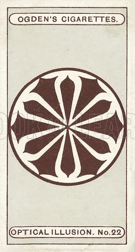 Rotary Movement. If this card is given a rapid rotary motion, a mysterious grey disc will appear, and hover about the centre of the design. The bigger the movement made in rotating the card, the larger will the disc appear. Illustration for one of a set of cigarette cards on the subject of Optical Illusions, published by Ogden's, early 20th century.