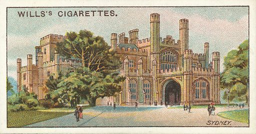 Government House, Sydney, New South Wales. Illustration for one of a series of cigarette cards on the subject of Overseas Dominions, Australia published by Wills's Cigarettes, early 20th century.
