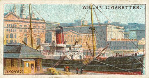 Circular Quay, Sydney, New South Wales. Illustration for one of a series of cigarette cards on the subject of Overseas Dominions, Australia published by Wills's Cigarettes, early 20th century.