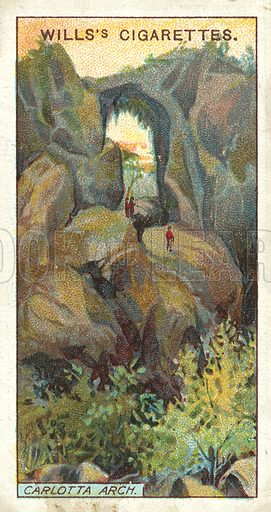 Carlotta Arch, New South Wales. Illustration for one of a series of cigarette cards on the subject of Overseas Dominions, Australia published by Wills's Cigarettes, early 20th century.