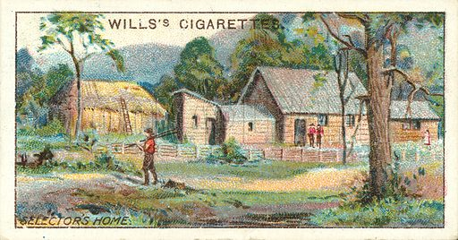 Selector's Home, Victoria. Illustration for one of a series of cigarette cards on the subject of Overseas Dominions, Australia published by Wills's Cigarettes, early 20th century.
