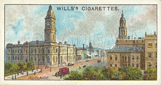 King William Street, Adelaide, South Australia. Illustration for one of a series of cigarette cards on the subject of Overseas Dominions, Australia published by Wills's Cigarettes, early 20th century.